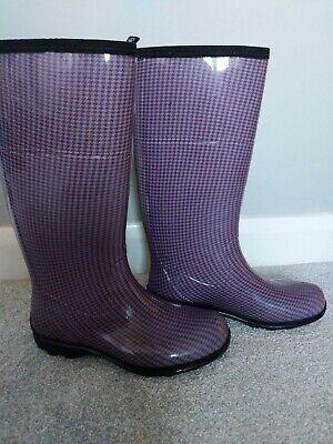 KAMIK Tall Wellington Rain Boots Plum Dogtooth Check Size UK 5/US 7