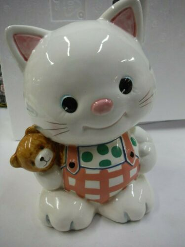 1997 GEO LEFTON HAND PAINTED CHINA CAT BEAR COIN PIGGY BANK   O513