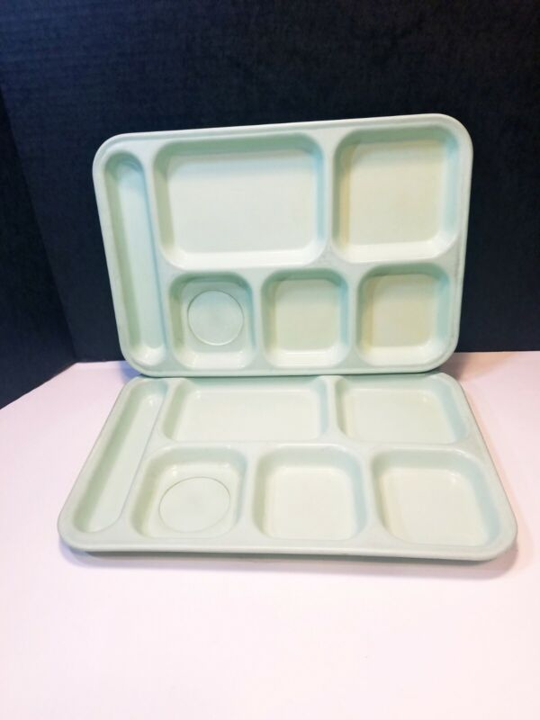 Dallas Ware Cafeteria School Trays P71 Mint Green Vintage Lot Of 2