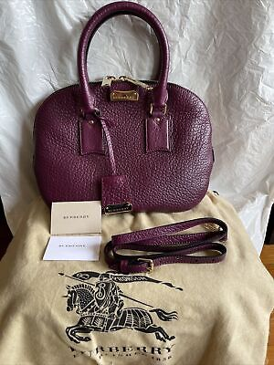 Authentic Burberry Heritage Grain Leather Small Orchard Bowling Bag