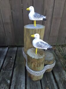Seagull Statue, Cement Outdoor, Nautical Black Tail Gull