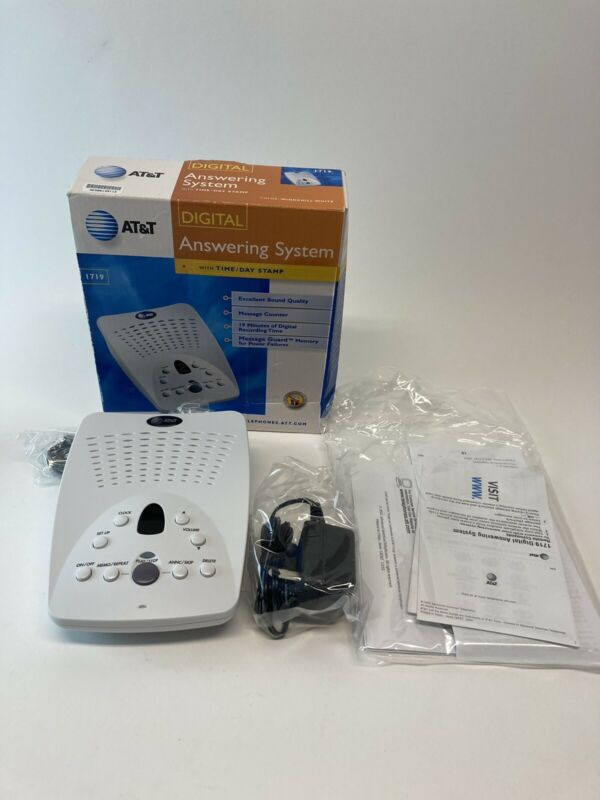 AT&T 1719 Digital Answering Machine System with Time/Day Stamp Windchill White