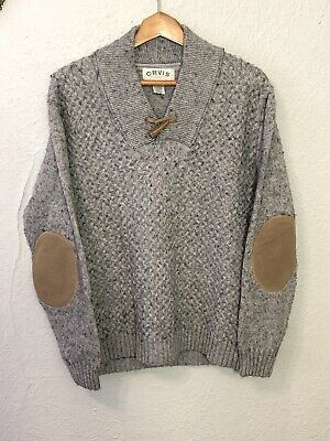 Orvis Men's XL Gray Shawl Collar Cable Knit Sweater Elbow Patches Wool Blend