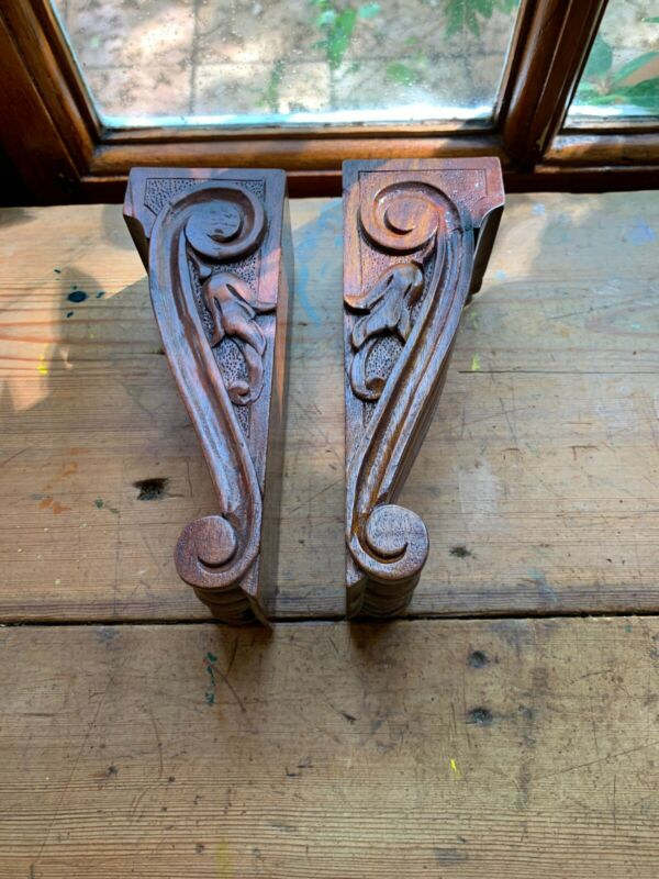 Pr Hand Carved Small Wood Corbels