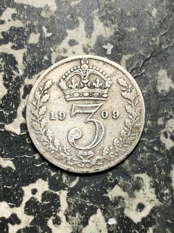 1909 Great Britain 3 Pence Threepence Lot#L8589 Silver!