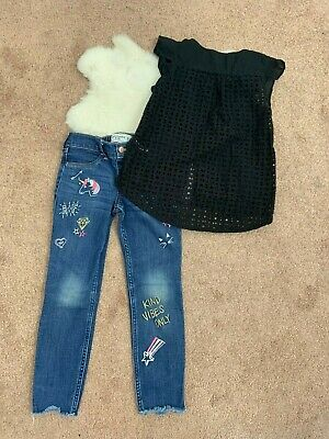 H&M / Abercrombie Kids Top Blouse & Jeans Pant Sz 5-7 Years Girl Blue Black