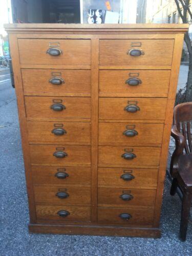 Antique Oak Wood 16 Drawer File Cabinet