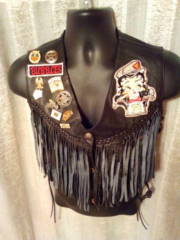 Betty Boop Jacket Ladies Small Black Leather Fringe