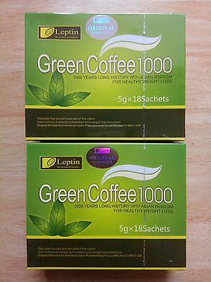 Hot~2 Boxes Leptin Green Coffee 1000 Slimming Tea Weight Loss 5gX18 sachets