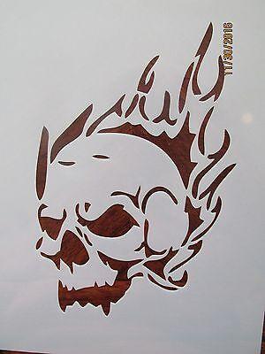 Flaming Skull Cracked Skull Stencil Pack Reusable 10 mil Mylar - Cracked Skull