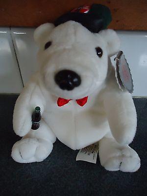 """1998 Coca-Cola Polar Bear Bean Bag Plush 5"""" Style #0140"""
