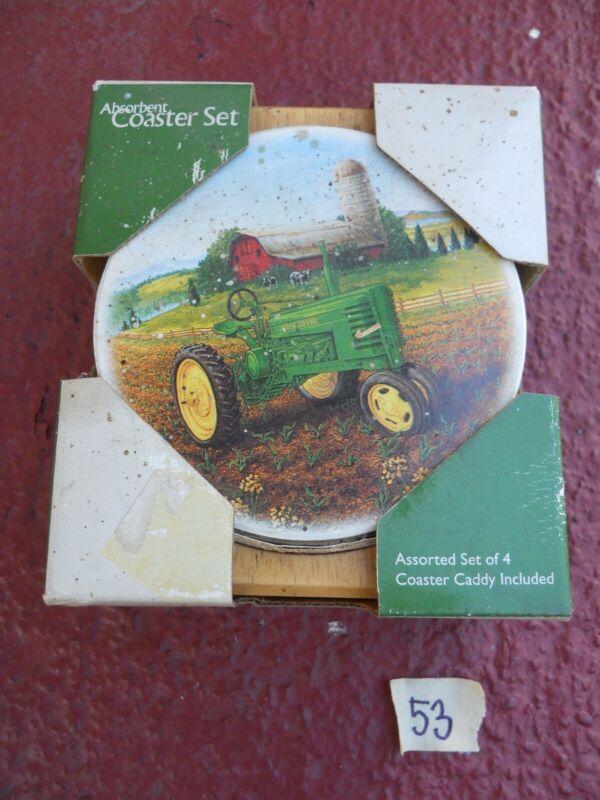 Boxed 4p John Deere Coaster coasters Lot + caddy image Tractor on Farm Land