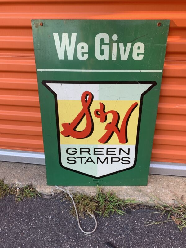 Vintage S&H Green Stamps Gas Station Tin Double sided Sign 29.5x20 A