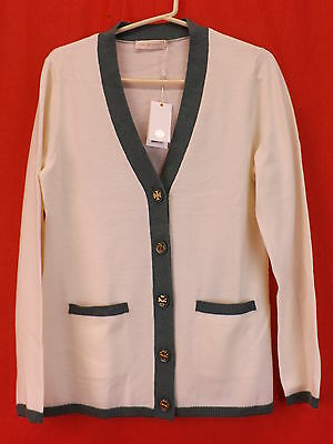 NWT TORY BURCH COLOR BLOCK IVORY SIMONE WOOL 2 TONE REVA BUTTONS CARDIGAN S