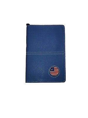 Blue Leather Book Golf Scorecard and Yardage Holder with Ball Marker and Pencil