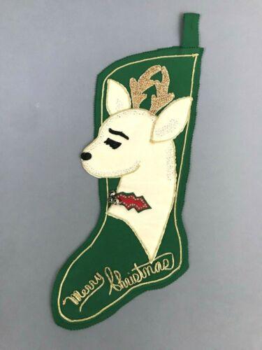 Vintage Green Felt Sequins Beaded Mr Reindeer Christmas Stocking 25