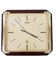 Citizen Quartz Vintage Wall Clock Wood Gold Trim Square Japan