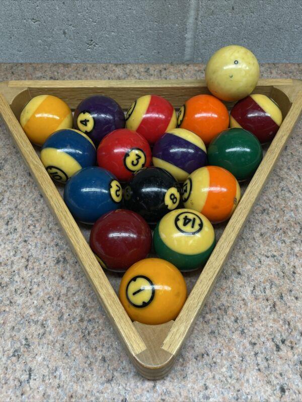 Vintage Brunswick Centennial Pool Balls With Rack