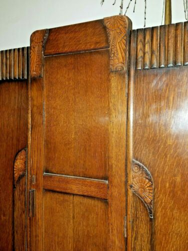 Antique 1920s-30s Petite Art Deco Oak Armoire Wardrobe w beautiful carved detail