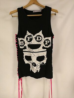 "Five Finger Death Punch Band 5FPD Black Pink Lace Up Skull 2015 Tank Top 34"" Sm"
