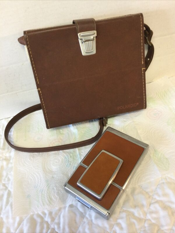 Vintage Polaroid SX-70 Camera Classic Brown Leather with Original Shoulder Case