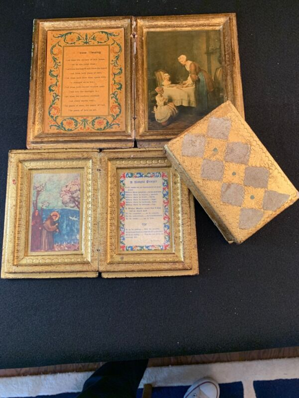 """Trio of Vintage Hand Painted Italian Florentine Wood """"Books"""" Made in Italy"""