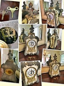1898, F. Kroeber Clock Co.,antique French-style mantel clock
