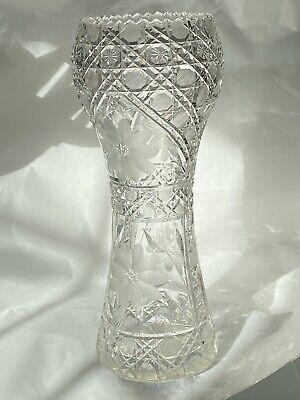 """Antique ABP American Brilliant Cut Crystal 12"""" Vase - Art Nouveau"""