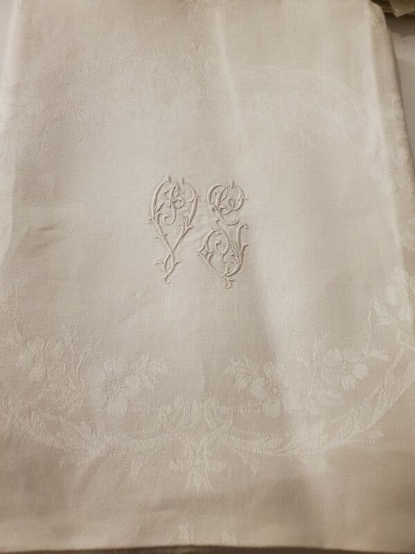 14 XXL Antique French Pure Linen DAMASK napkins hand monogrammed 36x29