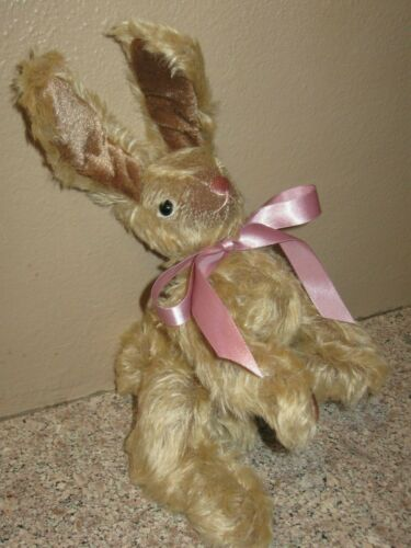 Vintage Jointed Mohair Stuffed Plush Easter Bunny- Rabbit- Glass Eyes