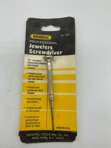 "General 600-1 Jewelers Screwdriver .080"" Tip, USA Made"