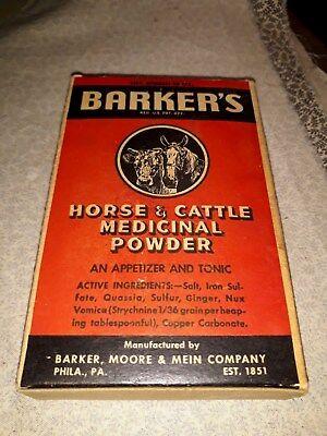 Vintage sealed box of BARKER'S Horse & Cattle Medicinal Powder,1920's