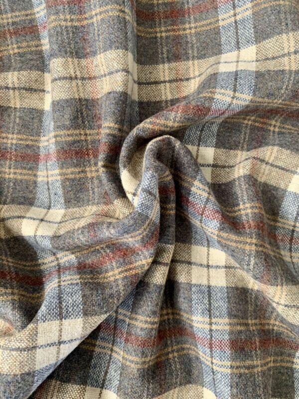 "Vintage Wool Plaid Fabric Yardage, Grey Tan, Pendleton Shirt, 74"" x 56"""