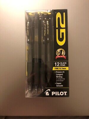 12 Pilot G-2 Retractable Gel Roller Pens Fine Point 0.7mm Black 31136
