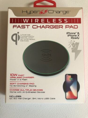 Tzumi Hyper Charge Wireless Fast Charger Pad / IPhone 8, X, All Qi Devices NEW - $7.50