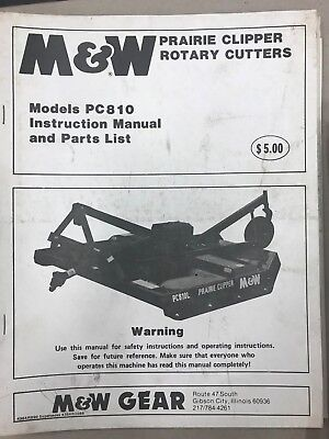 Mw Instruction Parts Manual Pc810 Rotary Cutter 4364r890 Used