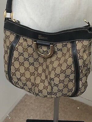 Gucci Monogram Crossbody Handbag Canvas And Brown Leather