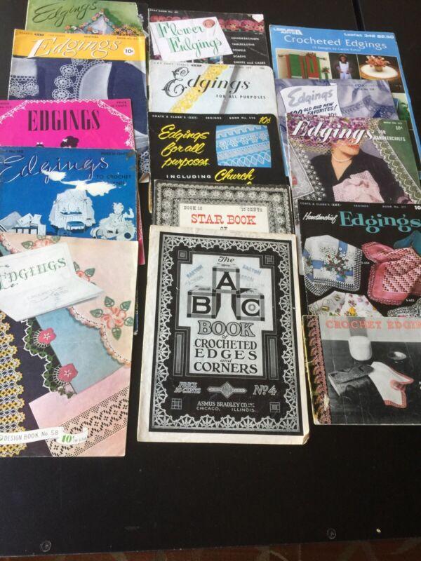 VINTAGE Pattern Books EDGINGS crochet tatting lace lot of 15