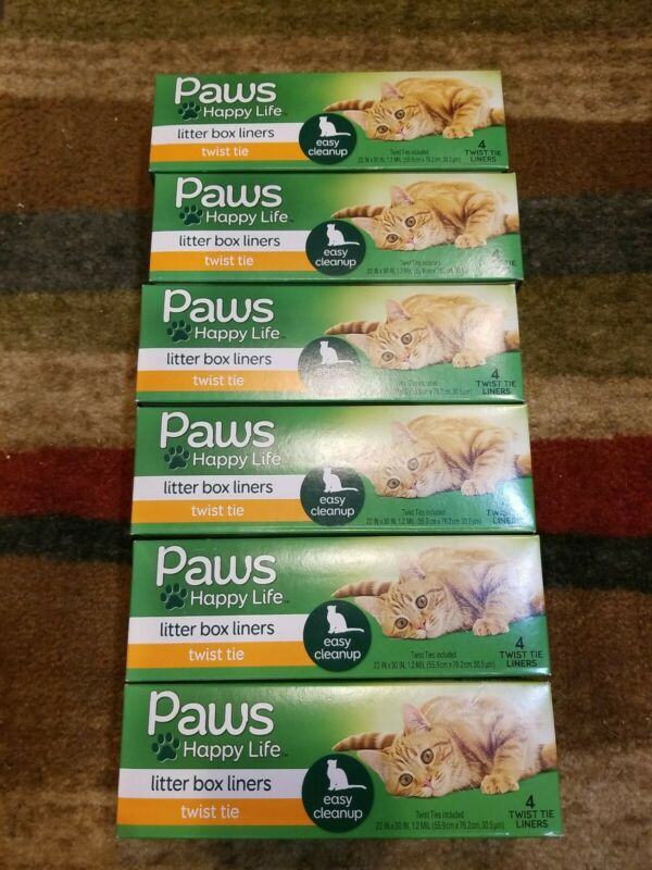 Paws Happy Life 6 Litter Box  Liners Twist Tie Easy Cats Cleanup 4 liners each