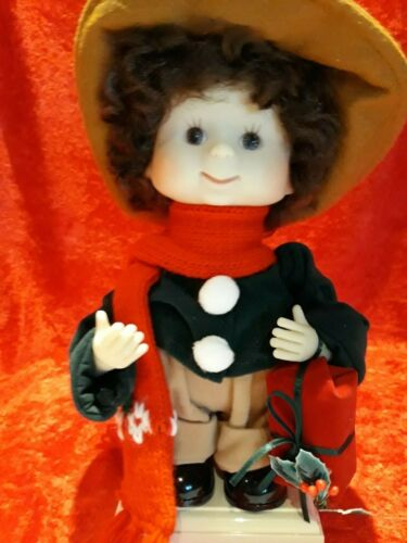 Vintage Undercover Kids Animated Christmas Brunette Boy Stephan with Present
