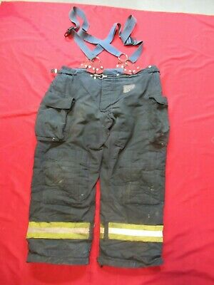 Morning Pride Fire Fighter Turnout Pants 48 X 32 Black Bunker Gear Suspenders