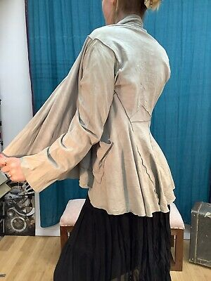 Denis Colomb M Gray Goat Suede Leather Open Front Jacket
