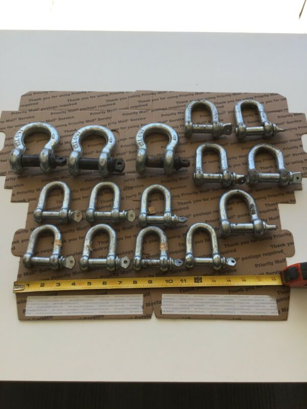 Lot Of 15 Clevis Shackles Different Sizes Used 9-2