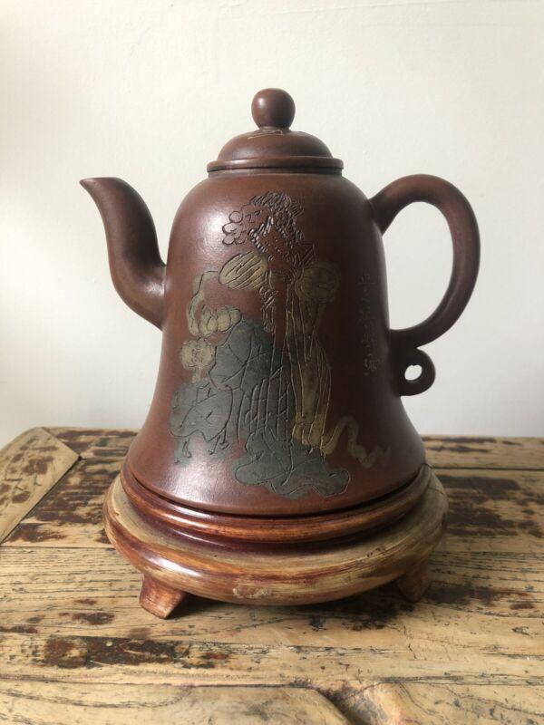 Antique Chinese Yixing Zisha Clay Teapot Calligraphy Poem Signed Base ON STAND