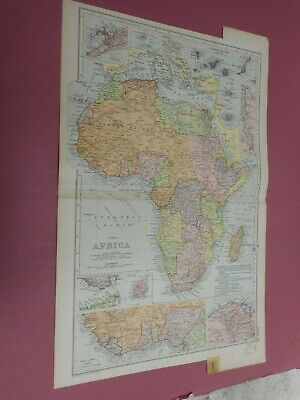 100% ORIGINAL LARGE AFRICA CANARY ISLANDS   MAP  BY G  BACON C1912 VGC
