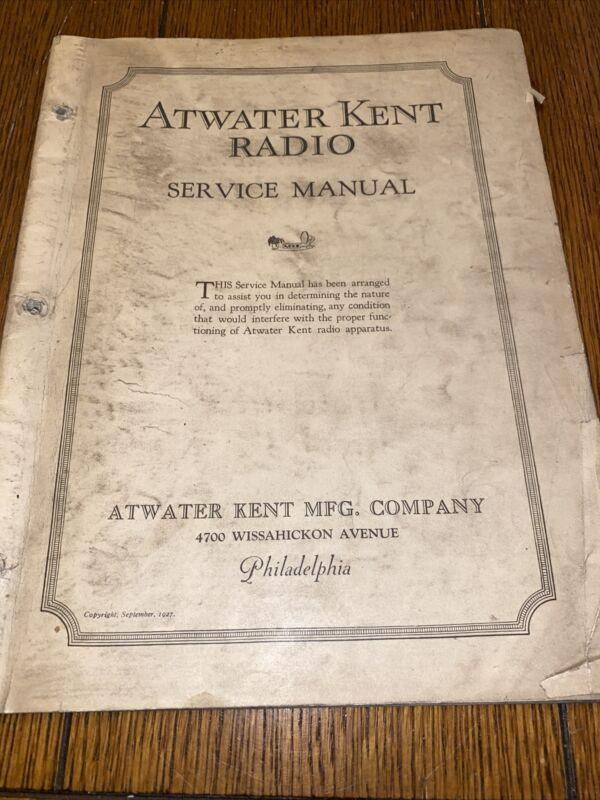 Original 1927 ATWATER KENT RADIO SERVICE MANUAL - PARTS - Models - 38 Pages