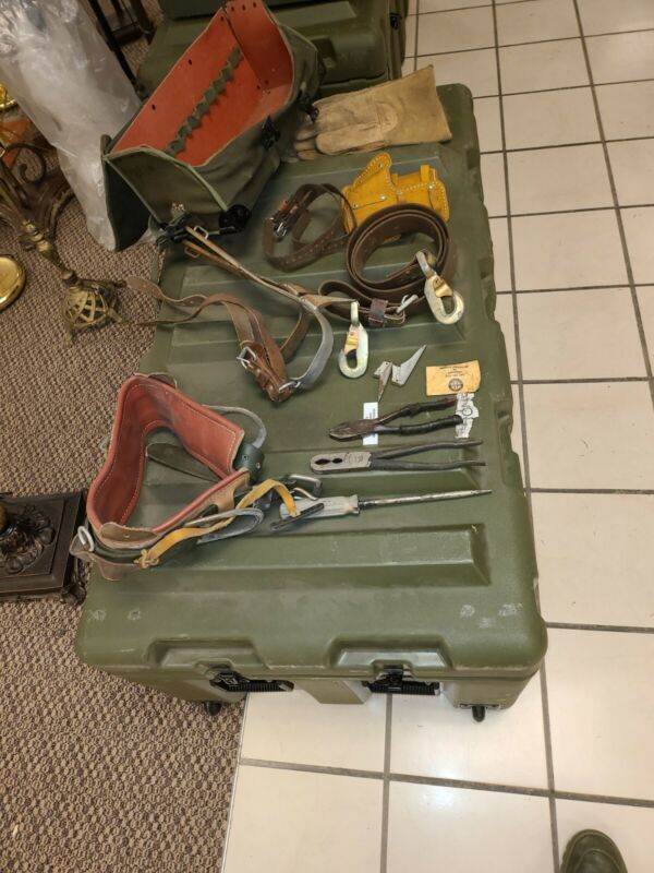 Buckingham Utility Lineman Climbing kit military surplus w/ adjustable spikes #1