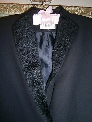 LE SUIT Black Blazer Jacket~Faux POODLE Fur Collar~MSRP $200~12P 12 Petite~Lined