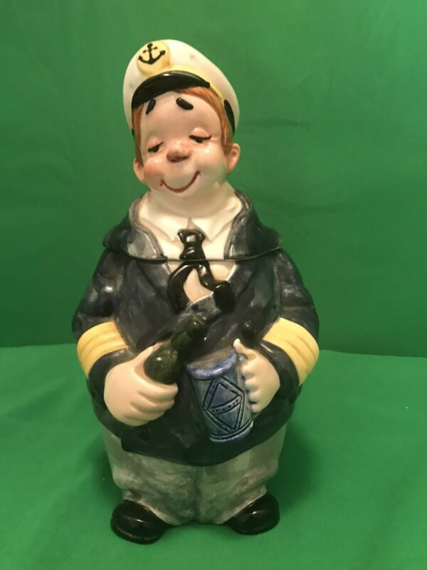 Vintage Ceramic Character Beer Stein Mug Drunk Skipper Sea Captain Sailor Japan