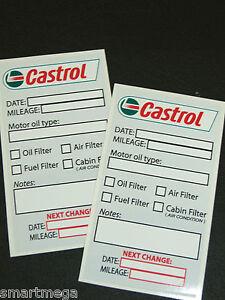 castrol oil change service reminder sticker set of 2 long lasting vinyl ebay. Black Bedroom Furniture Sets. Home Design Ideas